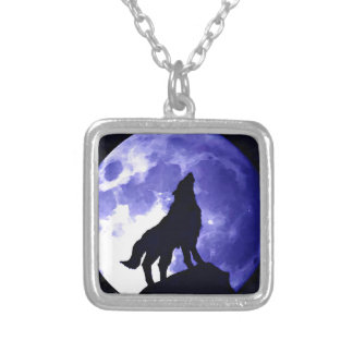 Howling Wolf & Fullmoon Square Pendant Necklace