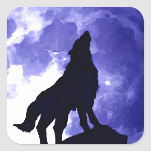Howling Wolf & Fullmoon Square Sticker
