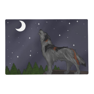 Howling Wolf (Gray) Laminated Place Mat