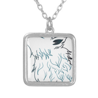 Howling Wolf Head3 Square Pendant Necklace