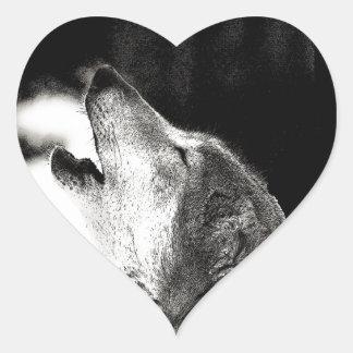 Howling Wolf Heart Sticker