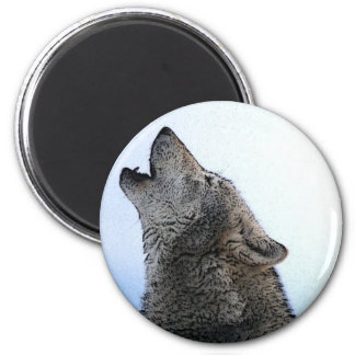 Howling Wolf in Snow 2 Inch Round Magnet