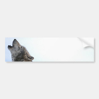 Howling Wolf in Snow Bumper Stickers