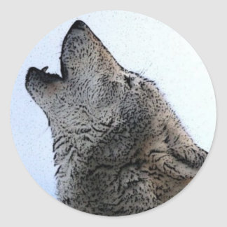 Howling Wolf in Snow Classic Round Sticker