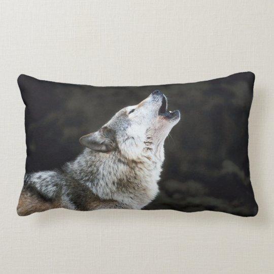 Howling Wolf In Snow Lumbar  Pillow