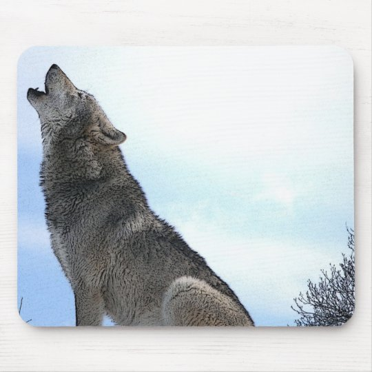 Howling Wolf in Snow Mouse Pad