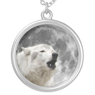 Howling wolf in the moon silver plated necklace