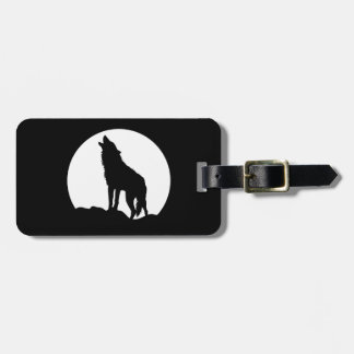 Howling wolf luggage tag Leather