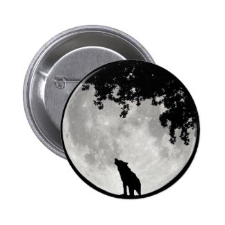 Howling Wolf Moon and Branches Pinback Buttons