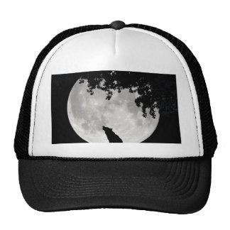 Howling Wolf Moon and Branches Mesh Hat
