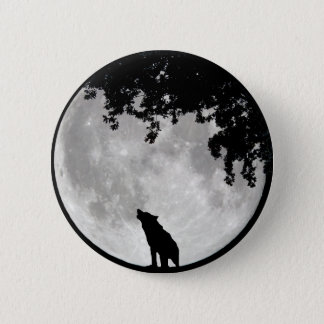 Howling Wolf Moon and Branches Pinback Button