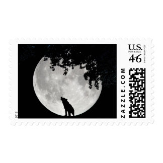 Howling Wolf Moon and Branches Postage Stamps