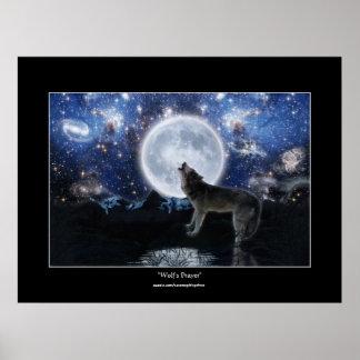 Howling Wolf, Moon & Wilderness Art Poster