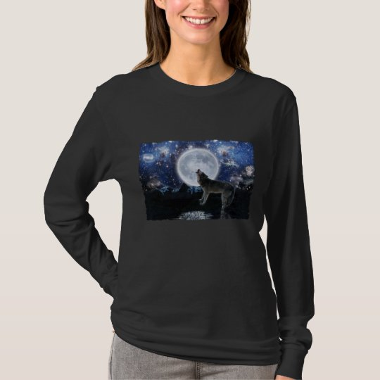 Howling Wolf, Moon & Wilderness Long-sleeve Shirt