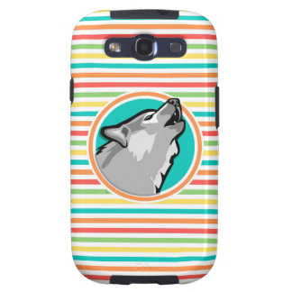 Howling Wolf on Bright Rainbow Stripes Samsung Galaxy S3 Covers