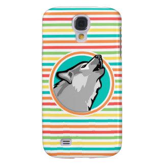 Howling Wolf on Bright Rainbow Stripes Galaxy S4 Cases