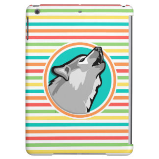 Howling Wolf on Bright Rainbow Stripes iPad Air Cases