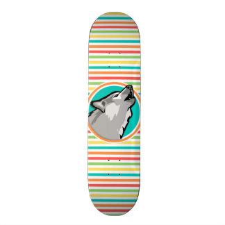 Howling Wolf on Bright Rainbow Stripes Skate Board