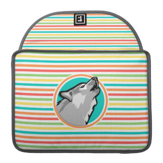 Howling Wolf on Bright Rainbow Stripes Sleeves For MacBook Pro