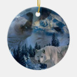Howling Wolf Pack Double-Sided Ceramic Round Christmas Ornament