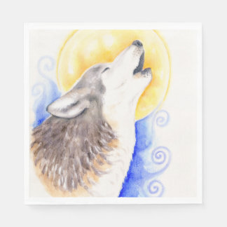 Howling Wolf Paper Napkin