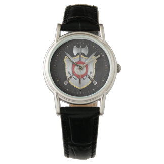 Howling Wolf Sigil Battle Crest Wrist Watch