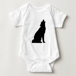 Howling Wolf Silhouette Baby Bodysuit