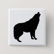 Howling Wolf Silhouette Button