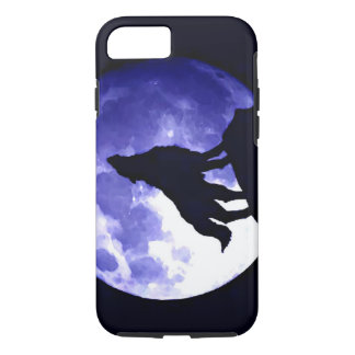 Howling Wolf Silhouette & Fullmoon Blue Night iPhone 7 Case
