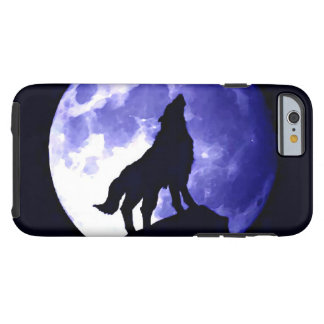Howling Wolf Silhouette & Fullmoon Blue Night Tough iPhone 6 Case