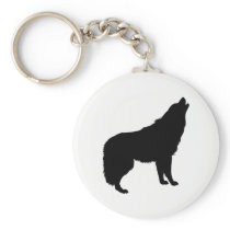 Howling Wolf Silhouette Keychain
