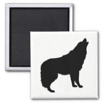 Howling Wolf Silhouette Magnet