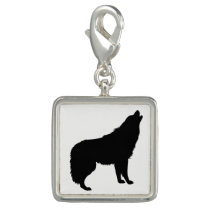 Howling Wolf Silhouette Photo Charms