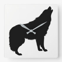 Howling Wolf Silhouette Square Wall Clock