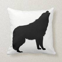 Howling Wolf Silhouette Throw Pillow