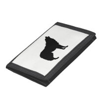 Howling Wolf Silhouette Tri-fold Wallets