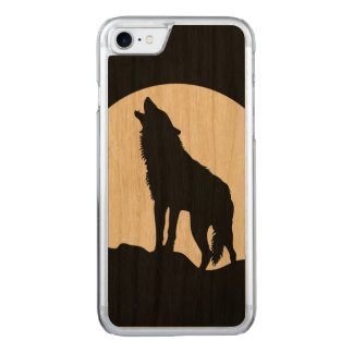 Howling wolf silhouette wood iPhone 6 Carved iPhone 7 Case