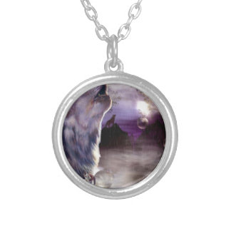 Howling Wolf Silver Plated Necklace
