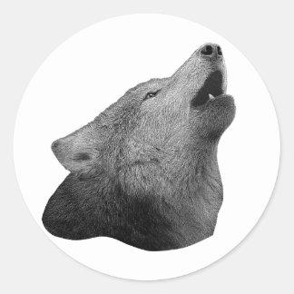 Howling Wolf - Stylized Image Classic Round Sticker