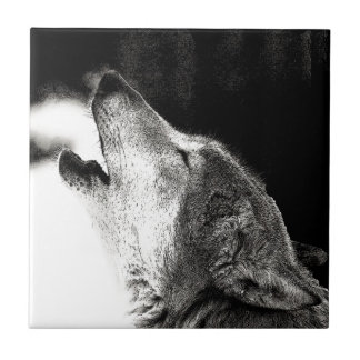 Howling Wolf Ceramic Tile