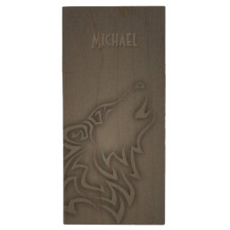 Howling Wolf Tribal Black Personalize Wood USB Flash Drive