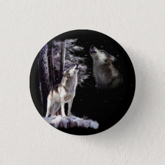 Howling Wolf Wildlife Button