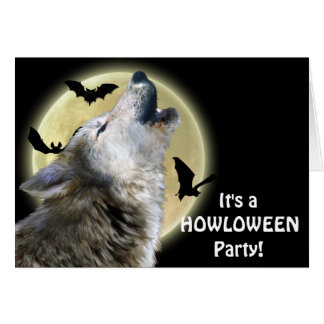 Howling Wolf Wildlife Halloween Party Invite Card