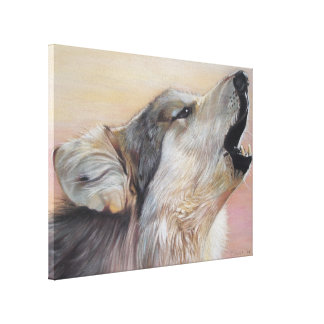 howling wolf wildlife realist art canvas print