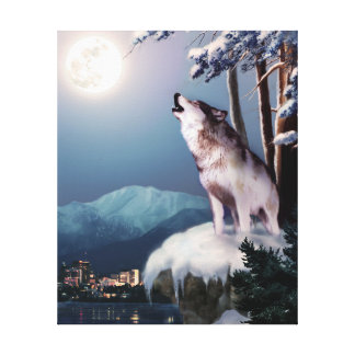 Howling Wolf with Anchorage Skyline Canvas Print