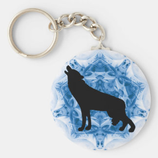 Howling Wolf Wolves Basic Round Button Keychain