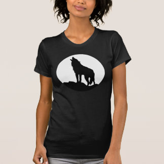 Howling wolf women t-shirt Black moon wolf