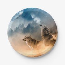 Howling Wolfes Foto Paper Plate