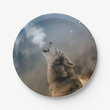 Halloween Themed Howling Wolfes Foto Paper Plate