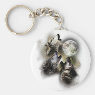 Howling Wolves Moon Keychain